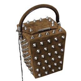$enCountryForm.capitalKeyWord NZ - Fashion women box handbags velvet female bucket bags punk style girls rivet chain shoulder bags ladies day clutches box bolsos