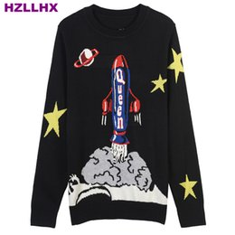 China HZLLHX O-neck women and men knitting sweater knitting top black planet rocket jacquard pullovers casual jumper cloud star cheap cloud computers suppliers