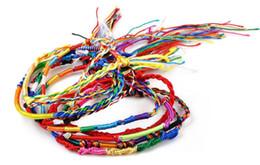 Venta al por mayor de Cuerda arco iris al por mayor multicolor perlas de colores pulsera mano colorida cuerda tejida a mano cuerda colorida entrega gratuita