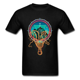 mountain tees UK - Octopus Holding Mountain Mandala Image T Shirt Mens Natural Cotton Round Collar Young T Shirt Normal Tee Shirts Top Quality Sweatshirt