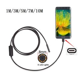 Discount android 5.1 phones - Wholesale-8mm 2MP 8LED 1 3 5 7 M Android Phone USB Type C USB-C Endoscope Waterproof Borescope Snake Inspection Video Ca