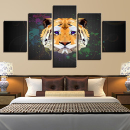 oil painted maps 2019 - Home Decor 5 Pieces World Map And Cute Tiger Abstract Painting Modular Canvas Printed Animal Pictures Living Room Wall A