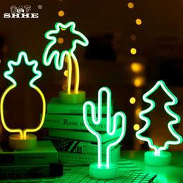 Chinese  Neon Sign Table LED Night Light Cactus Coconut Tree Christmas Tree Pineapple 3D Neon Table Desk Lamp for Festival Party Decor L manufacturers