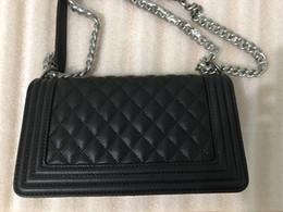 InterIor locks online shopping - Le BOY bag Lamskin Caviar Square Designer Handbags high quality Luxury Handbags Lozenge Retro Gold Silver Leather Chain Shoulder Bags