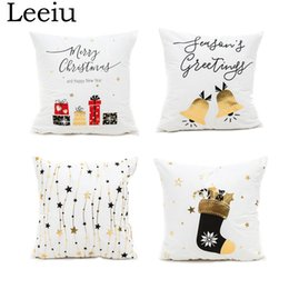 cushion f NZ - Leeiu 45*45cm Soft Cotton Gold Printed Merry Christmas Pillow Case Home Decoration Happy New Year Cushion Covers Party Supplies Y18102609