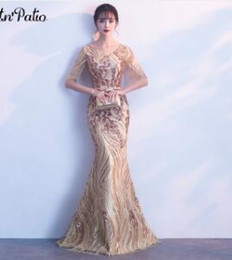 Gold Lace Peplum Dress Australia - Gold Sequined Evening Dresses Long 2018 Elegant O-neck Floor-Length Lace Mermaid Dresses With Sleeves For Prom Party