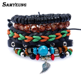 Jewelery Bracelets Australia - Samyeung New Turkish Wing Leather Bracelets for Women Men Anchor Wristband Buddha Beads Bracelet Naruto Jewelery Braslet Mens