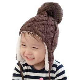 4ad335690d279 Unisex Child Add Velvet Bomber Hats Pompon Hat Earmuffs Beanies Kids Autumn Winter  Warm Earflap Ear Cable Cap Free Shipping