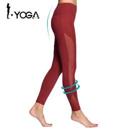 Sexy Yoga Pants For Women Canada - Women Yoga Compression Pants Mesh Leggings Pants Elastic Tights Sexy Yoga Capri with Pocket for Workout Gym Jogging KE-09