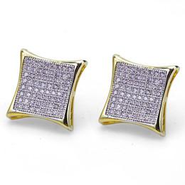 Vintage copper earrings dangle online shopping - Hiphop Stud earrings for women men gifts Luxury boho white Zircon rhombus Dangle earrings gold plated Vintage geometric Jewelry