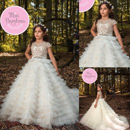 pageant skirts 2019 - Custom Made Ivory Flower Girls' Dresses A Line Tiered Skirts Jewel Ribbon Beaded Lace Appliqued Floor Length Commun