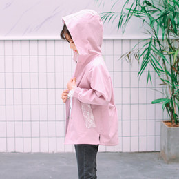 lace trench coats jackets Canada - 2018 Autumn Trench Coat For Girls Clothes Children Clothing Fashion Lace Patchwork Hooded Jacket Kids Clothes Windbreaker 3-14Y