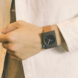 Discount men simple style watch - New Student Quartz Watch Men Simple Style Rectangle Case PU Band Strap Wristwatch Decoration Gift For Boyfriend