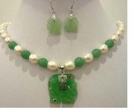$enCountryForm.capitalKeyWord Australia - Free Shipping White pearl light green natural stone elephant pendant necklace earring set