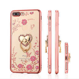 $enCountryForm.capitalKeyWord UK - Bling Secret Garden Flowers Electroplate TPU Case Cover With Diamond Ring Grip For iPhone X 8 7 6 6S Plus 5