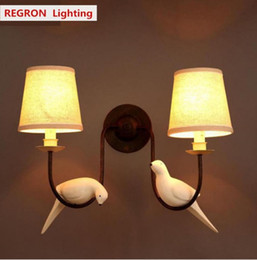 Dining room fabric online shopping - Regron Natural Country Nordic iron wall sconce Bird Wall lamp Bedroom Bedside Wall features Cloakroom dining room Lamparas De Pared