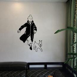 Discount green black bedroom - Tintin With Dog Cartoon Vinyl Wall Sticker Children's Room Wall Art Mural Decals Tintin Vinyl Poster Wall Art Decor