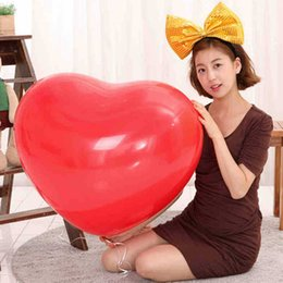 Discount heart balloons for wholesale - Colorful Blow Up 36 Inches Oversized Heart Love Balloon Helium Inflable Big Latex Balloons for Wedding Birthday Party De