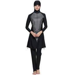 China Women Printed Floral Modest Muslim Swimwear Hijab Muslimah Islamic Swimsuit Sport Clothing Plus Size Burkinis cheap sports hijab suppliers