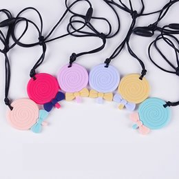 Silicone Teething Pendant Wholesalers Australia - Lollipop Pendant Silicone Teething Necklace for Baby to Chew Circle Lollipop Teethers Toy Nursing Necklace Food Grade Silicone Chew Beads
