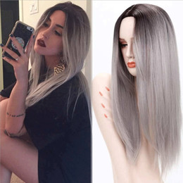 Grey woman hair wiGs online shopping - Long Ombre Grey Straight Synthetic Wigs inches for Women Black Two Tone Heat Resistant Fiber Hair