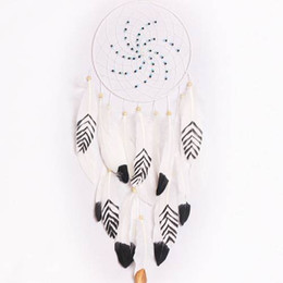 $enCountryForm.capitalKeyWord UK - Lovely Dream Catcher Net With Feather White Beads Dreamcatcher Circular Wall Hanging Car Home Decor Holiday Gift