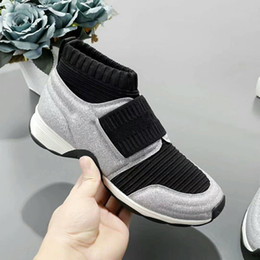 121c7a447 2019 Silver Black Sock Boots Stretch-Knit Mid High Speed Trainer Shoes  Cheap Sneaker Mixed Colors Woman Casual Shoes Outdoors big Size 35-41