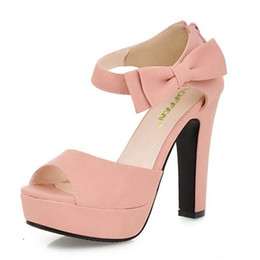 Discount platform thick high heel gold shoes - Size 31-43 New Summer Peep Toe Ankle Strap Orange Sweet Thick High Heel Sandals Platform Lady Women Shoes