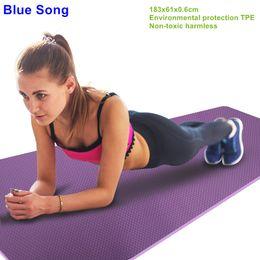 Discount dance mat dancing - Genuine 183cm Lengthen Eco friendly TPE Yoga Mat Pilates Fitness Slip resistant Mat Broadened Thickening Yoga Blanket Da