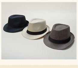 $enCountryForm.capitalKeyWord Canada - Vogue Men Women Soft Fedora Panama Hats Cotton Linen Straw Caps Outdoor Stingy Brim Hats Spring Summer Beach 34 Colors TO662