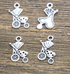 $enCountryForm.capitalKeyWord NZ - 40pcs lot baby Stroller Charms silver tone baby carriage charm pendant 19x13mm