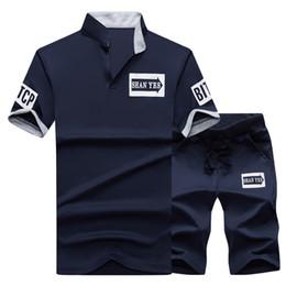 Summer Sportswear Suit Australia - Tracksuit Sportswear Men Shorts Summer Brand T Shirt Men Letter Printed Sporting Set Fashion Suit Male Famous Brand Men Top Shirt