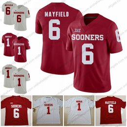 Oklahoma Sooners  6 Baker Mayfield 1 Kyler Murray 2018 New Brand Jump Rose  Bowl Patch Red White Brown Orange College Football Jerseys S-3XL af7abd422