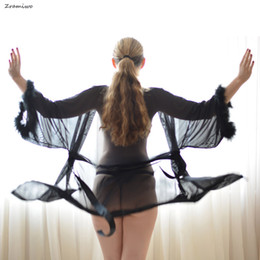 $enCountryForm.capitalKeyWord NZ - Fluffy Sheer Robe Mesh Lingerie Sets Nude Nightgown Chemise Sexy Negligee Soft Bathrobe S18101509