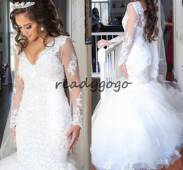 44d29a2b848d0 Mermaid Wedding Dresses with Long Sleeve 2019 Modest Lace Beaded Plus Size  V-neck Backless Trumpet Dubai Arabic Bridal Gown