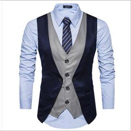 29421bdeae76a New Mens Business Wedding Vest Fake Two-piece Single-breasted Casual  Four-Button Buckle Slim Homme Suit Vest