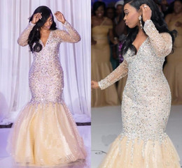 ff67d38162654 2018 Cheap Sparkly Mermaid Prom Dresses V Neck Long Sleeves Beads Crystal  Vestidos Floor Length Special Occasion Evening Gowns For Women