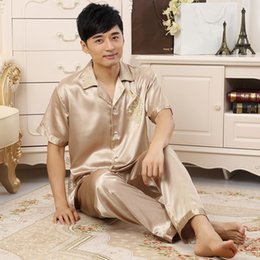 43fd49d01f X Summer New 2PCS Shirt Pants Champagne Home Clothes Men Dragon Pajamas Set  Faux Silk Sleepwear Loose Nightwear Plus Size 3XL