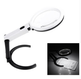 loupe 2.5x 2019 - Portable 10 LED Light Magnifier Magnifying Glass with Light Lens Table Desk-type Lamp Handheld Foldable Loupe 2 x 120mm