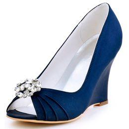 eaf6f2768c3 Women Wedge Heels Wedding Bridal Pumps EP2009AH Navy Blue teal Peep Toe  Rhinestone Satin Bride Lady Bridesmaid Dress Prom Shoes