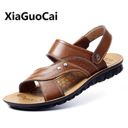 Brown Korean Flat Shoes Canada - Summer Man Casual Shoes Sandals Beach Walking Shoes Slip on Cowhide Breathable Korean Outdoor Wear-resistant Flat for Male