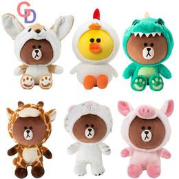 Discount chick toys - 23cm~60cm Korean Dolls Giant Brown Bear Plush Dolls Dinosaur Tiger Dog Chick Plush Toy Giraffe Toys for children birthda