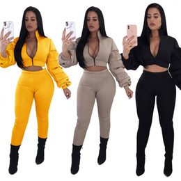 $enCountryForm.capitalKeyWord Canada - New Arrived 2019 Women Two Pieces Ruffles Long Sleeves Zipper Short Cropped Top and High Waist Skiny Long Pants Suits Casual Tracksuits