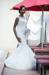 nigerian bridal train cap UK - African Nigerian Mermaid Wedding Dress Sheer Neck Full Lace Applique Sleeveless Sweep Train White Ivory Garden Church Chapel Bridal Gowns