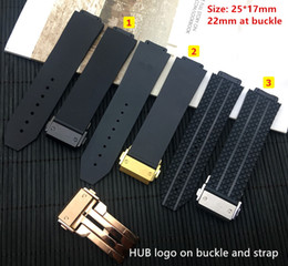 Ingrosso Cinturino per orologio in silicone nero 25 * 17mm Per BIG BANG autentico cinturino per uomo cinturino logo su fibbia in acciaio inossidabile