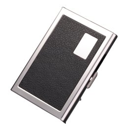 Shop leather business card box uk leather business card box free 5pcs lot wholesale fashion pu leather stainless steel men card holde women metal bank name business card case box reheart Image collections