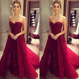 Discount women skirt models - Sexy Beads Sweetheart Evening Dresses Detachable Skirt Plus Size Lace 2018 Dubai Saudi Arabic Prom Party Ball Muslim Wom