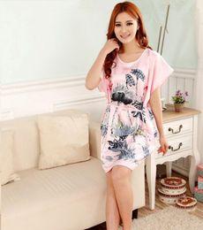 0e8748e600 86 Plus Size Women s Faux Silk Robe Bath Gown Nightgown Light Blue Sexy Summer  Sleepshirts New Style Sleepwear Pijama Mujer