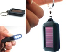 Wholesale Mini Portable HS Solar Power Black Environmental protection LED Light Lamp OU Keychain Torch Flashlight Gift