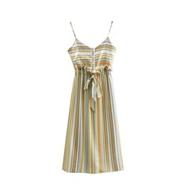 harness dress women UK - Elegant Vertical Stripes Print Harness Dress Sexy V-Neck Elastic Waist Bow Tie With Single-breasted Decoration Women Beach Dress